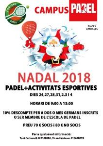 CAMPUS PADEL NADAL 2018-2019 / CAMPUS PADEL NAVIDAD 2018-2019